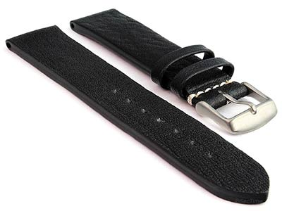 Genuine Leather Watch Strap Band Prague Black 20mm