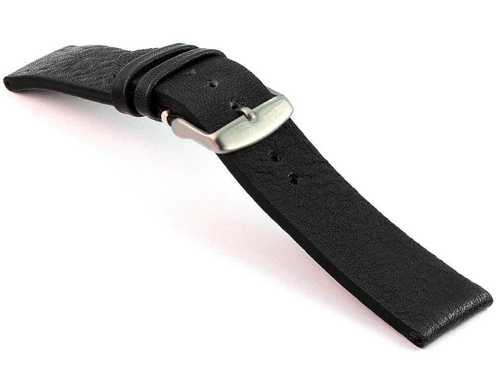 Genuine Leather Watch Strap Band Prague Black 03