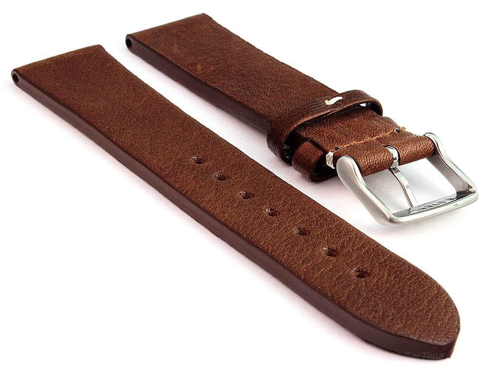 Genuine Leather Watch Strap Band Prague Dark Brown 02