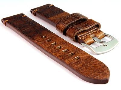 Old-look Genuine Leather Watch Strap Pride Dark Brown 20mm
