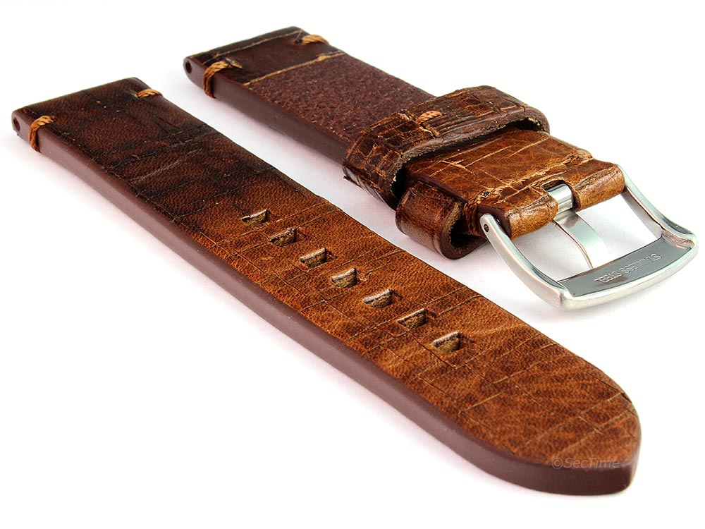 Old-look Genuine Leather Watch Strap Pride Dark Brown 02