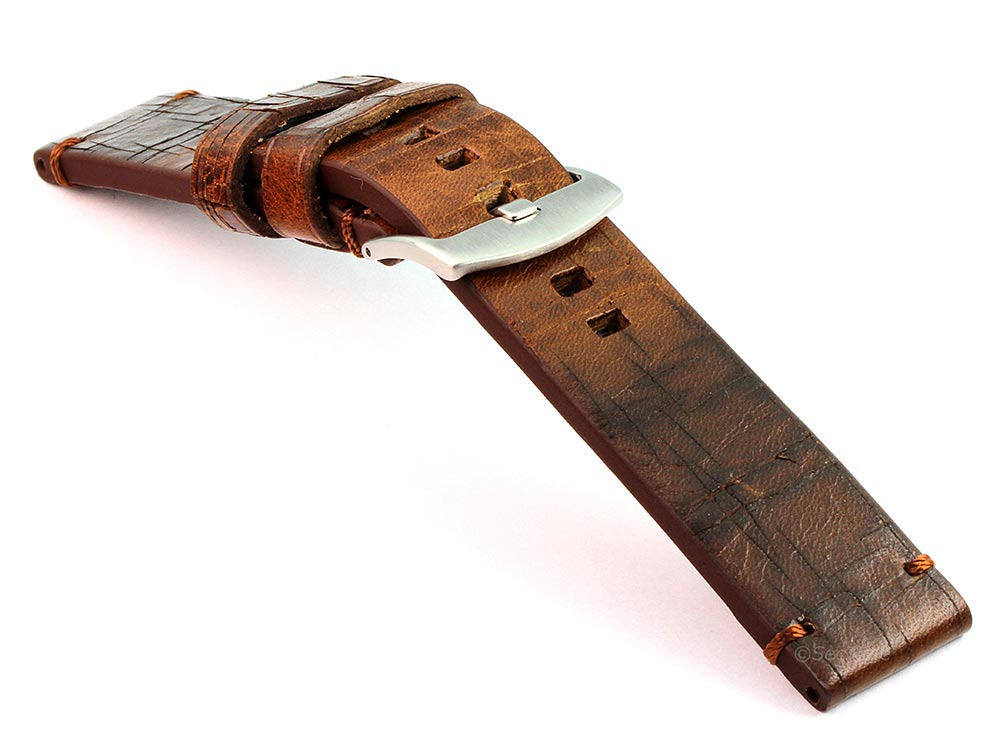 Old-look Genuine Leather Watch Strap Pride Dark Brown 03