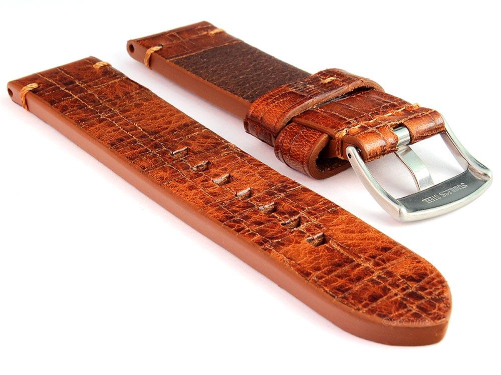 Old-look Genuine Leather Watch Strap Pride Brown 02