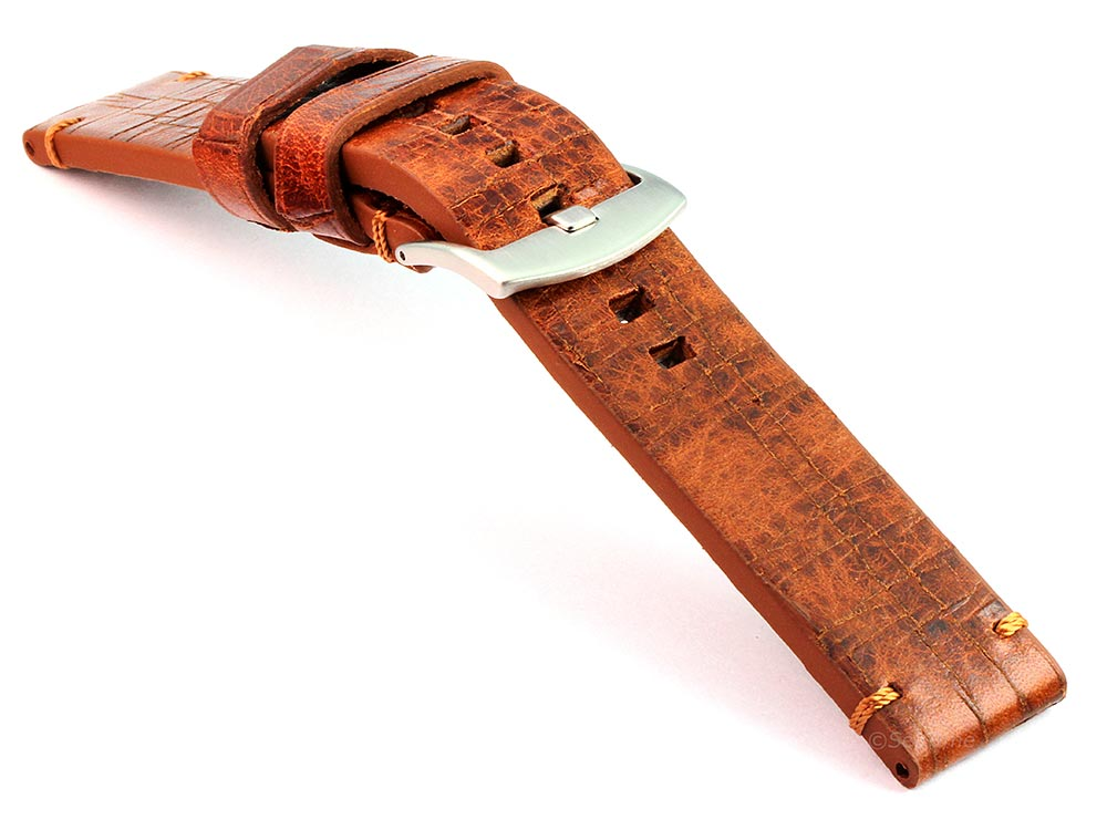 Old-look Genuine Leather Watch Strap Pride Brown 03