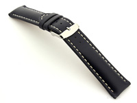 Padded Watch Strap Leather Blue with White Stitching Sahara 01
