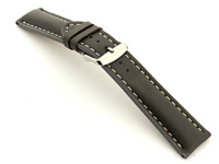 Padded Watch Strap Leather Grey with White Stitching Sahara 01