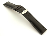 Padded Watch Strap Leather Grey with Grey Stitching Sahara 01