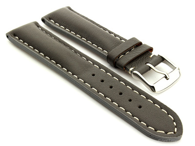 Padded Genuine Leather Watch Strap SAHARA Grey/White 22mm