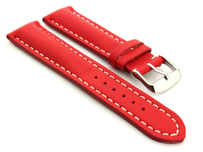 Padded Genuine Leather Watch Strap SAHARA Red/White 22mm