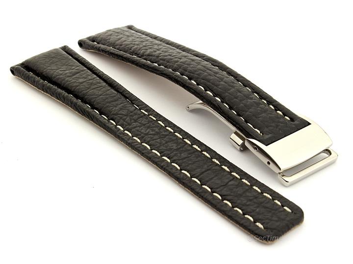 Shark Skin Watch Strap for Breitling Black 02