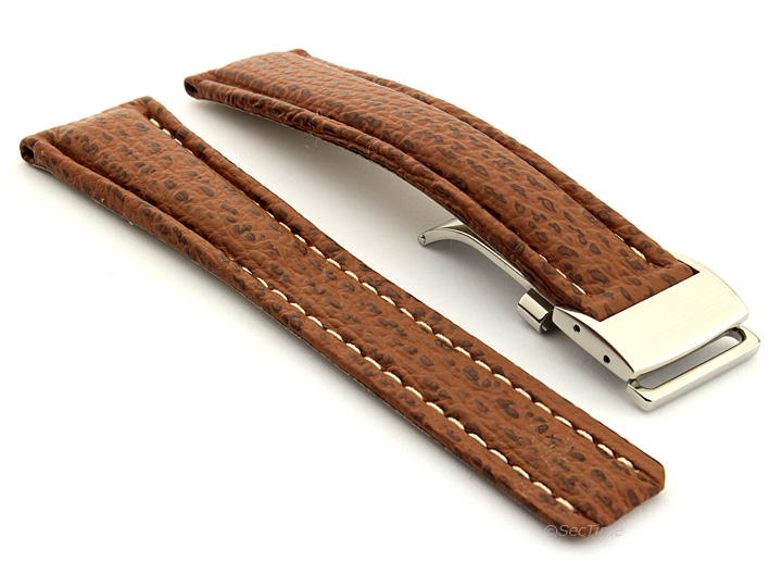 Shark Skin Watch Strap for Breitling Brown 02