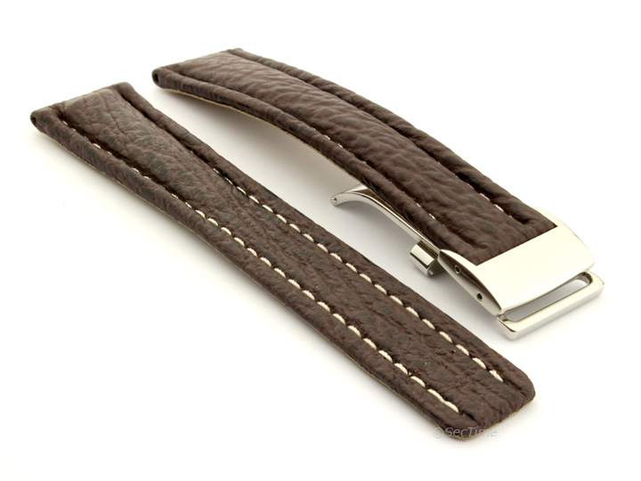 Shark Skin Watch Strap for Breitling Dark Brown 02