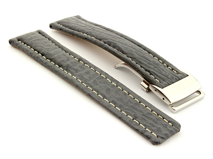Shark Skin Watch Strap for Breitling Grey 02