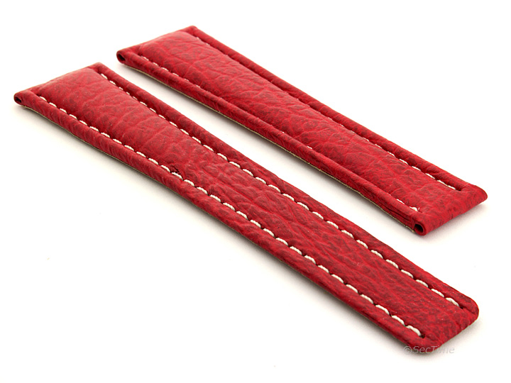 Shark Skin Watch Strap for Breitling Red 01