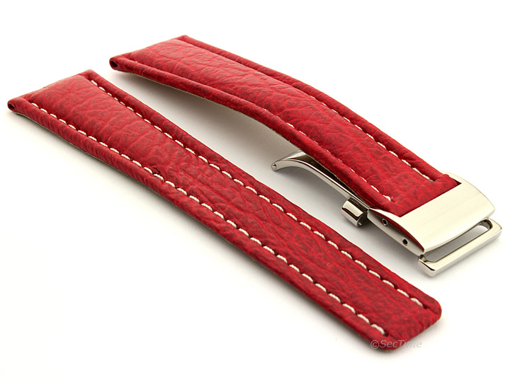 Shark Skin Watch Strap for Breitling Red 02