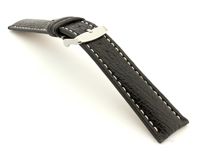 Shark Leather Watch Strap VIP Black 20mm