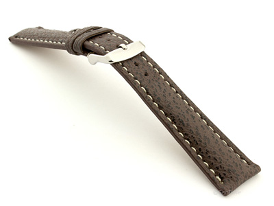 Shark Leather Watch Strap VIP Dark Brown 20mm