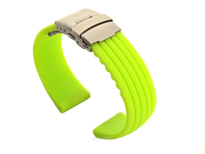 55e7c628368 Silicone Watch Strap GS with Deployment Clasp Waterproof Green 20mm ...