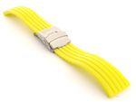 Silicone Watch Strap with Deployment Clasp Yellow GS 02