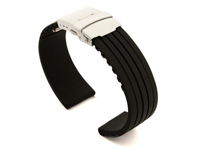 Silicone Watch Strap with Deployment Clasp Black GS 01