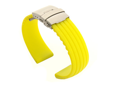 Silicone Watch Strap with Deployment Clasp Yellow GS 01