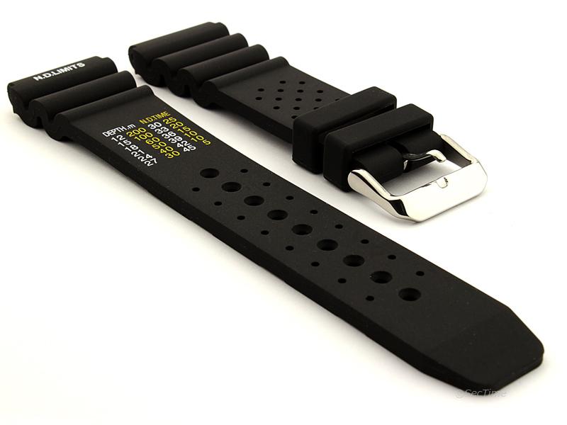 Citizen / Seiko Silicone Rubber Watch Strap Pro Waterproof Black 01