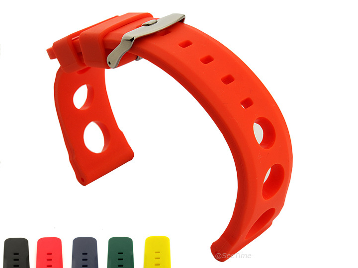 Mens-Silicone-Rubber-Watch-Strap-Band-Perforated-Resin-20mm-22mm-24mm-MM-SH