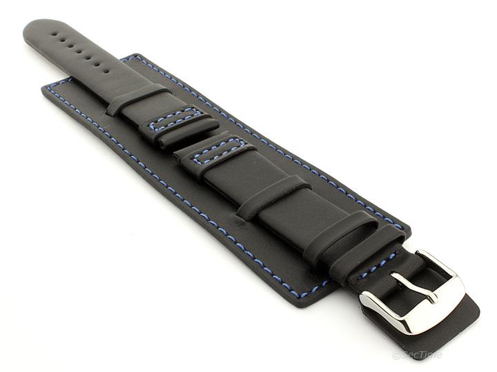Mens-Genuine-Leather-Watch-Strap-Band-SOLAR-Wrist-Cuff-SS-Buckle-Spring-Bars