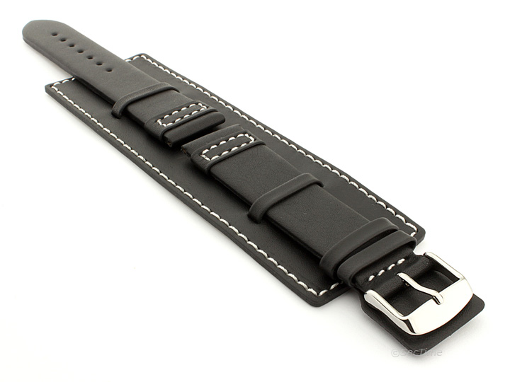 8392ab9e339 Leather Watch Strap with Wrist Cuff Black with White Stitching Solar 01
