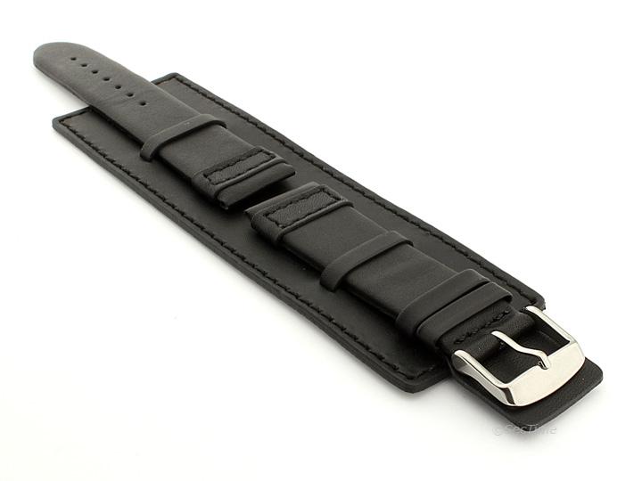 Leather Watch Strap with Wrist Cuff Black with Black Stitching Solar 01
