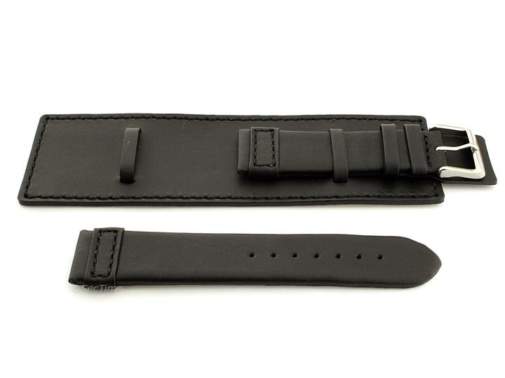 Leather Watch Strap with Wrist Cuff Black with Black Stitching Solar 02