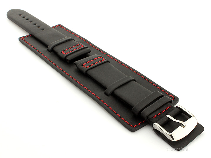 Leather Watch Strap with Wrist Cuff Black with Red Stitching Solar 01