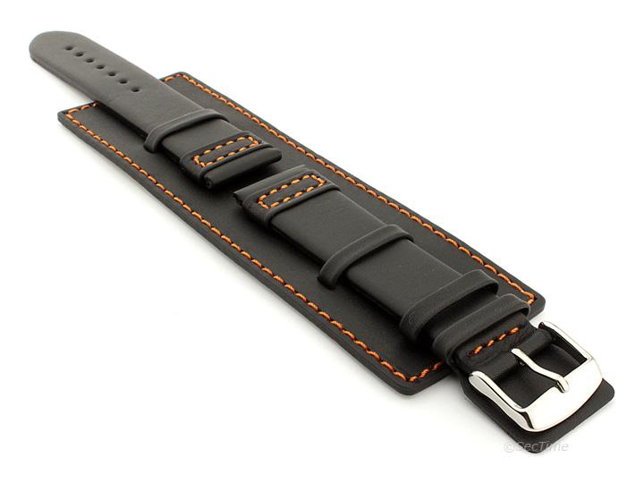 Leather Watch Strap with Wrist Cuff Black with Orange Stitching Solar 01