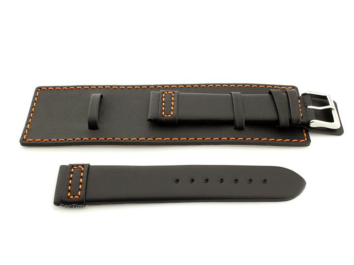 Leather Watch Strap with Wrist Cuff Black with Orange Stitching Solar 02