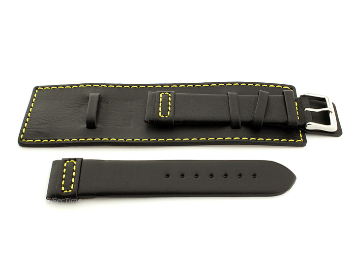 Leather Watch Strap with Wrist Cuff Black with Yellow Stitching Solar 02