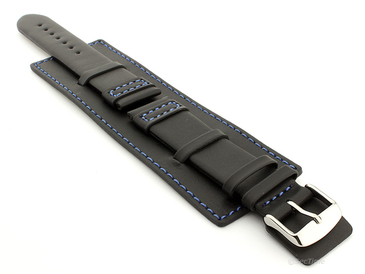 Leather Watch Strap with Wrist Cuff Black with Blue Stitching Solar 01