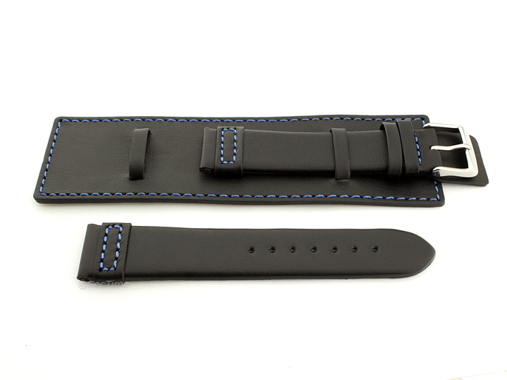 Leather Watch Strap with Wrist Cuff Black with Blue Stitching Solar 02