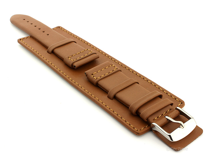 Leather Watch Strap with Wrist Cuff Brown with Brown Stitching Solar 01