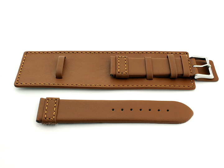 Leather Watch Strap with Wrist Cuff Brown with Brown Stitching Solar 02
