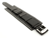 Leather Watch Strap with Wrist Cuff Black with White Stitching Solar 01
