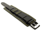 Leather Watch Strap with Wrist Cuff - Solar Black / Yellow 20mm