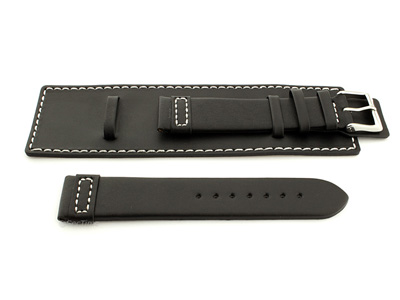 Leather Watch Strap with Wrist Cuff Black with White Stitching Solar 02