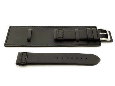 Leather Watch Strap with Wrist Cuff - Solar Black / Black 20mm
