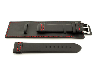 Leather Watch Strap with Wrist Cuff - Solar Black / Red 22mm
