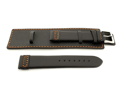 Leather Watch Strap with Wrist Cuff - Solar Black / Orange 18mm
