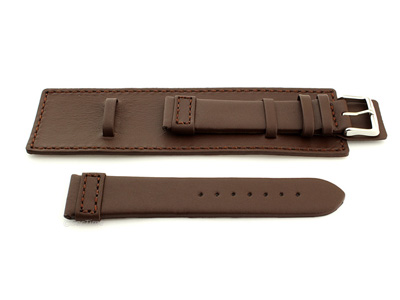 Leather Watch Strap with Wrist Cuff Dark Brown with Brown Stitching Solar 02