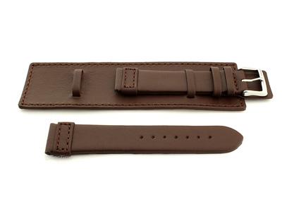 Leather Watch Strap with Wrist Cuff - Solar Dark Brown / Brown 22mm