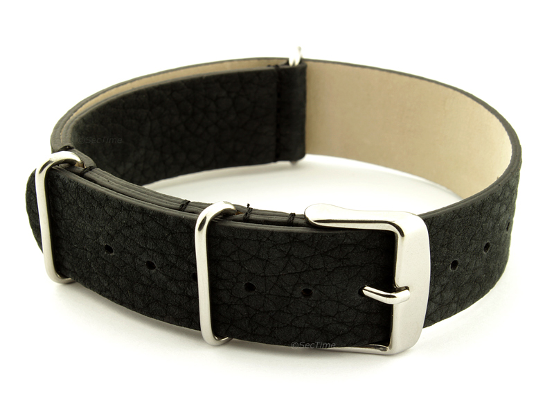 Suede Leather Nato Watch Strap Black 02