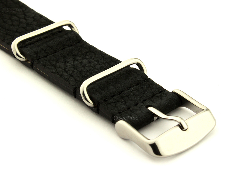 Suede Leather Nato Watch Strap Black 03