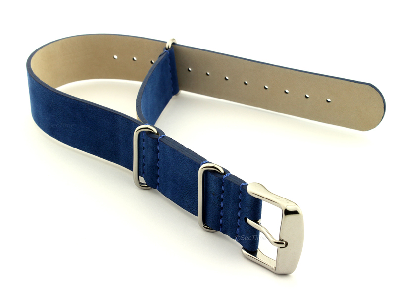 Suede Leather Nato Watch Strap Blue 01